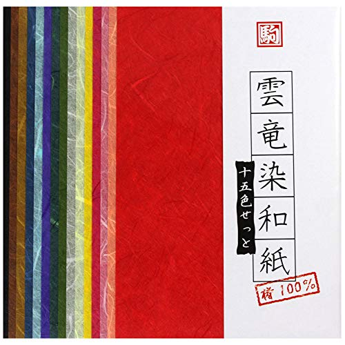 Origamipapier, Unryu-shi MIX 15 cm, leicht gefasertes Papier