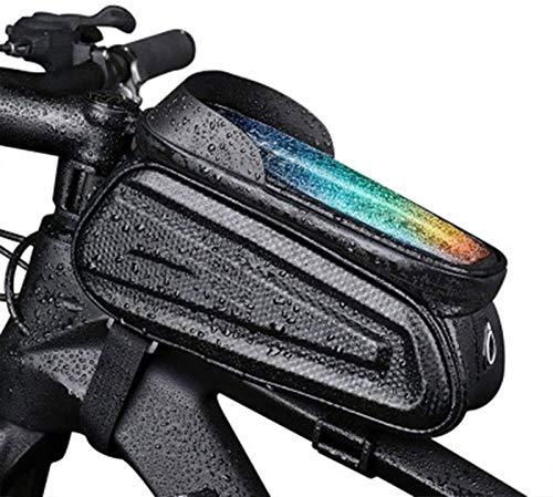 ZBQLKM Bolso de montaje del teléfono de la bicicleta, bicicleta del manillar del tubo superior del marco delantero a prueba de ciclismo con la caja del titular de la pantalla táctil para los teléfonos