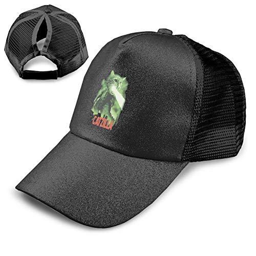 Cl4zyott Cat Zilla - Gorra de béisbol unisex, ajustable, color negro