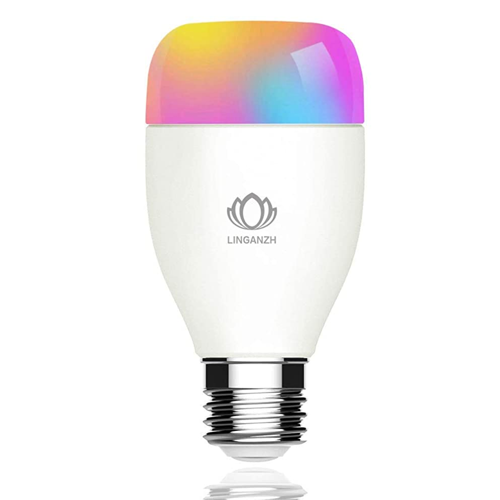 LINGANZH WiFi Smart Bulb, LED RGBW Color Changing Smart LED Light Bulb, Dimmable Night Light, No Hub Required - Remotely Control - Timing Function, Work with Alexa and Google Home, E27 6W 1pack