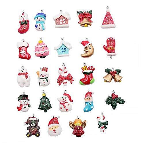 Canjerusof 24 PC Mini Navidad Colgantes de Color Colgantes para la joyería DIY, Collares, Pulseras, Pendientes, Regalos para Navidad