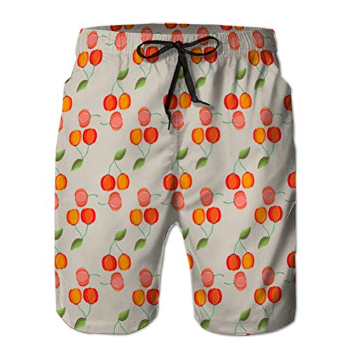 Yuerb Mens Summer Swim Trunks Quick Dry Board Beach Shorts acerola Fruit Leaves seamle