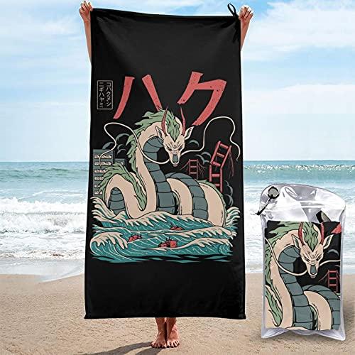 Spirited Away Haku Dragon Kaiju Toallas de bañoToalla de Playa Toallas de Microfibra Impresión 3D Toalla de Playa Toallas de Piscina de Gran tamaño de Secado rápido