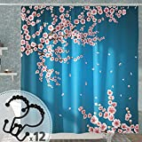 DESIHOM Cherry Blossom Floral Duschvorhang mit 12 rostfreien Metall Double Glide Duschhaken, Blume Duschvorhang Polyester Wasserdicht Set 183 x 183 cm