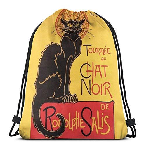 GeorgoaKunk Le Chat Noir Vintage Poster Mochila Deportiva Plegable Impermeable Bolsa de Gimnasio Saco Mochila con cordón