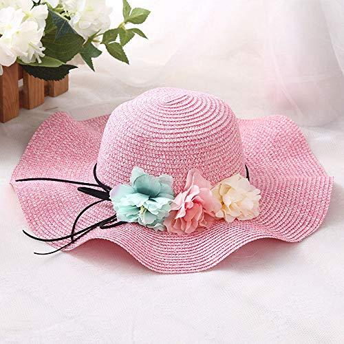 Grtodnz Sonnenhut-Sommer-breiter Rand-Blumen-Visier-Strohhut-Feiertags-Strand-Hut der Damen und der Kinder,D-M(Adult)