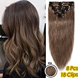 Silk-co Extension A Clip Cheveux Naturel 8 PCS Lisse Clips Cheveux Lustrés Extension Naturel 100% Cheveux Humains Naturel Epaisseur Fine [8 Pouces,#6 Châtain Clair]