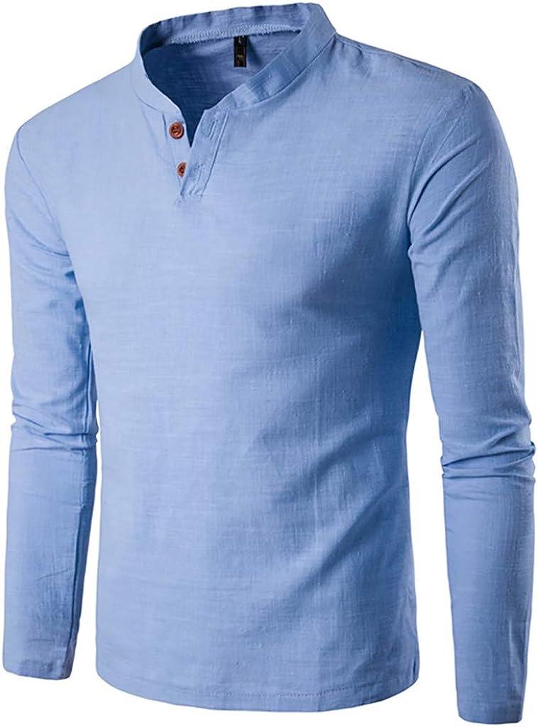 WUAI-Men Lightweight Casual Slim Fit Henley Shirt Long Sleeve Cotton Baseball T-Shirt Plus Size