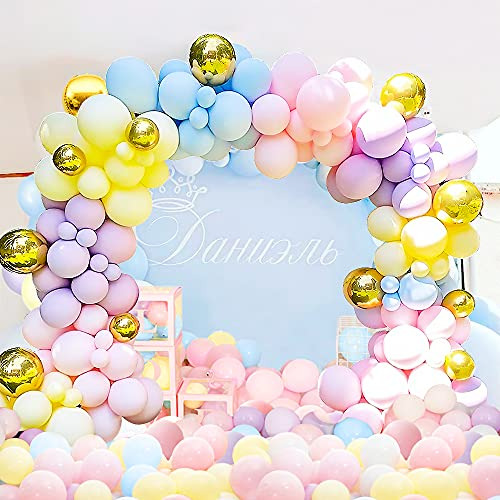 Unisun Ballon Garland Arch Kit, 122 Stück Macaron Regenbogen Pastell Luftballons, 4D Gold Luftballons für Geburtstagsfeier Hintergrunddekorationen für Mädchen Frauen
