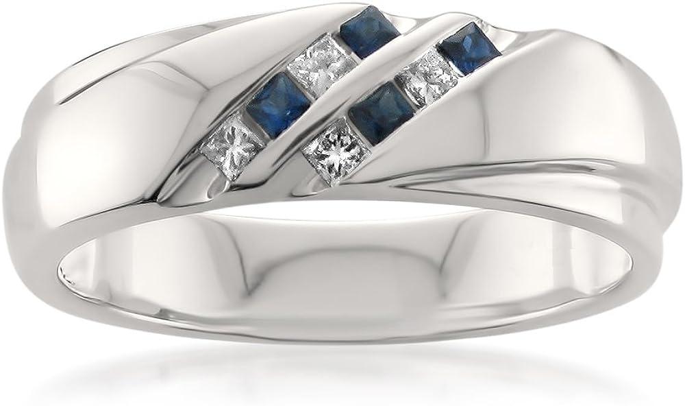 1/4 Carat Diamond, Channel-Set 14kt White Gold Princess-cut Diamond & Blue Sapphire Men's Wedding Band Ring (H-I, I1-I2) by La4ve Diamonds