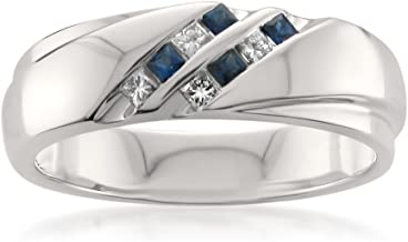 La4ve Diamonds 14k White Gold Princess-Cut Diamond & Blue Sapphire Men's Wedding Band Ring (1/4 cttw, H-I, I1-I2)