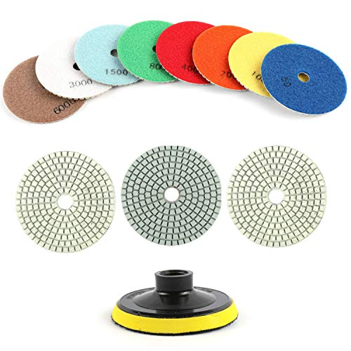 "Houseables Diamond Polishing Pads, Granite Grinding Wheels, 4"" Diameter, 11 Pk Plus Backer Pad, Color Coded, 3MM Thickness, Variable Speed Grinder Kit, Marble, Concrete, Stone, Wet, Dry, Countertop"