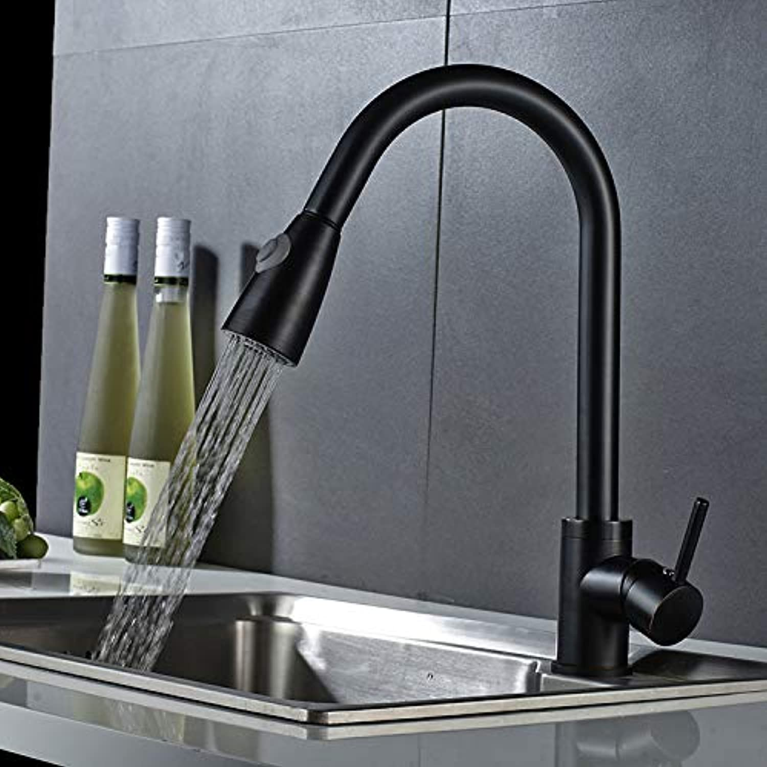 Copper Pull Kitchen hot and Cold Water Faucet Sink Pull Telescopic Sink Universal Swivel Sink