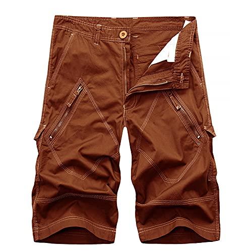 EMPERSTAR Pantaloncini da uomo Pantaloncini cargo vintage in cotone chino Fit Sport Campeggio Escursionismo Marrone 40