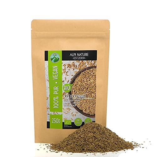 Cumino biologico intero (250g), semi di cumino crudo da coltivazione biologica certificata, semi di cumino vegani senza glutine, senza lattosio, testati in laboratorio