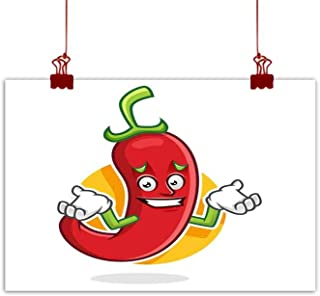 Mannwarehouse Art Oil Paintings Feeling Sorry Chili Pepper Mascot Chili Pepper Character Chili Pepper Cartoon Canvas Prints for Home Decorations 20