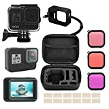 Accessories Kit for GoPro Hero 8 Black with Shockproof Carrying Case + Waterproof Case + Tempered Glass Screen Protector + Silicone Cover + Lens Filters + Anti-Fog Inserts Bundle for Go Pro Hero 8