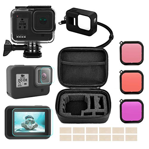 Accessories Compatible for GoPro Hero 8 Black With Travel Carry Case, Waterproof Housing Case, Tempered Glass Screen Protector, Silicone Cover, Diving Filters, Anti-Fog Inserts Bundle for GoPro Hero 8