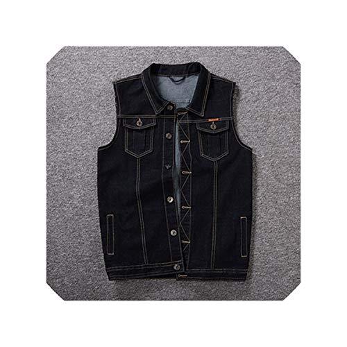Small-Dream-Shop Mens Jackets Denim Jacket Men Hip Hop Slim Casual Jeans Vest Jacket Coats,Black,4XL