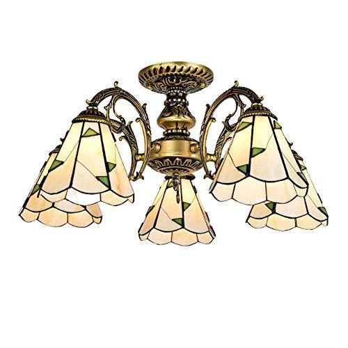 Lámpara de techo mediterránea E27 pastoral, cristal de color rosa durante la luz de granjero lámpara de techo para decoración de sala de estar, estilo Tiffany candelabro de bronce 6 cabezas