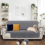 Utopia Bedding Funda Impermeable para sofá con Correas elásticas Ajustables - Protección Antideslizante para Muebles para Mascotas de 3 plazas, Gris/Beige [NO Apto para SOFASHION DE Cuero]