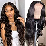 Baluiki4x4 Lace Closure Wigs Body Wave Lace Front Wigs Human Hair With Baby Hair 150% Density Body Wave Wigs For Black...