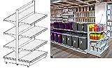 ITALFROM - Estantería de tienda con forma de góndola L 133, H 166, Prof.40 + 40 cm, base + 3 estantes.