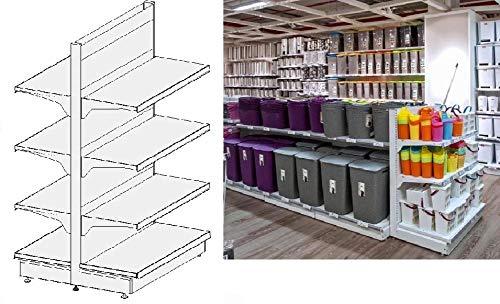 ITALFROM - Estantería de tienda con forma de góndola L 101, H 166, Prof.50 + 50 cm, base + 3 estantes.