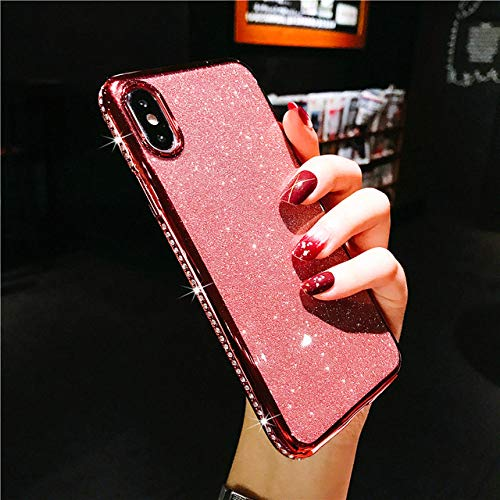 LIUYAWEI Estuche para teléfono con Brillo de Diamantes de imitación para iPhone 11 12 Pro X XR XS Funda de Diamante de Silicona Suave máxima para iPhone 6S 6 7 8 Plus Fundas, RG, para iPhone 12