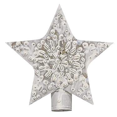 HAPPY Ofertas ~ Vintage Encalada Estrella Perforada Decoración Árbol de Navidad | 5 pulgadas | Antiqued Metal Farmhouse Design Christmas Tree Topper para árboles pequeños