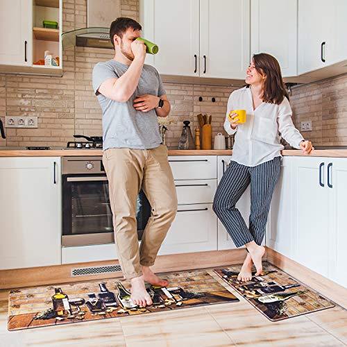 Delxo Anti Fatigue Kitchen Floor Mat -2 Piece Kitchen Mats Cushioned Anti Fatigue Waterproof Non-Slip Standing Mat Ergonomic Comfort Floor Mat Rug for Home,Office, 18'x47' +18'x30' (Wine Bottle)
