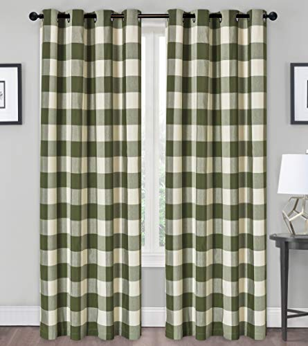 GoodGram Country Farmhouse Living Classic Buffalo Plaid Checkered Grommet Top Curtains - Assorted Colors & Sizes (Sage Green, 84 in. Long)