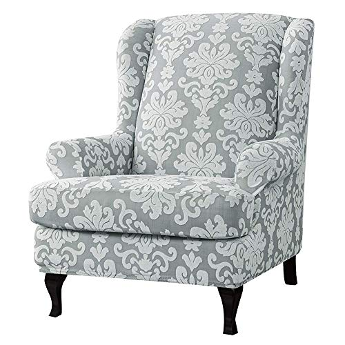 WAQIA Stretch Wingback Chair Slipcovers 2 Piece Wing Back Armchair Covers Slip Resistant Stylish Jacquard Spandex Polyester Fabric Sofa Covers for Furniture Protector in Living Room (Light Gray)