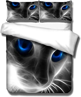 HNHDDZ Juego de Cama 3D Animal Gato León Tigre Leopardo Fantasma Impresión Funda de edredón y Funda de Almohada, Poliéster, Ropa de Cama Infantil Chico Chica (Gato, 180x220 cm - Cama 90/105 cm)
