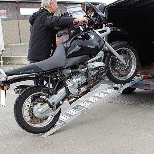 TRUTZHOLM® Alu Auffahrrampe dreifach klappbar Verladerampe Motorradrampe 270kg Rampe Klapprampe sehr platzsparend verstaubar und extrem leicht, Verladerampen Laderampe Verladeschiene Motorradrampe