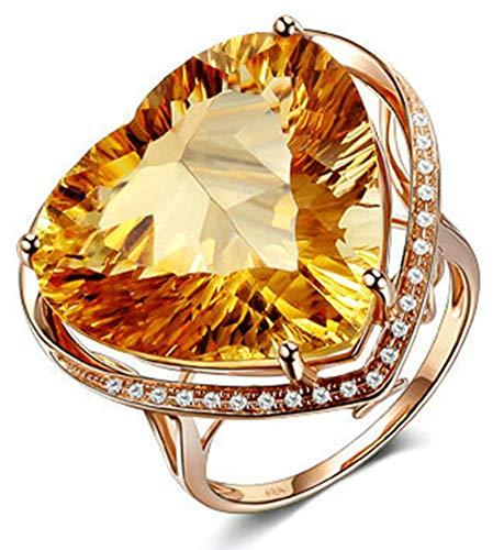 Aeici Anillos Boda Oro rosa 18k, Anillos De Compromiso Oro Citrino Diamante 18ct, Corazón, Talla 25