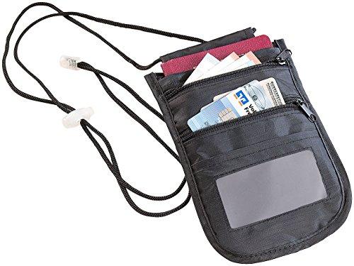 Xcase Brusttasche: Unisex-Brustbeutel mit RFID-Schutz, Reise-Organizer, 4 Fächer, schwarz (Brustbeutel mit RFID-Blocker)
