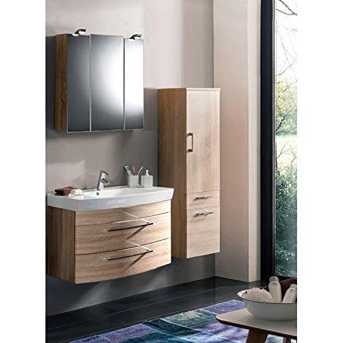 Baño Muebles Set 3Piezas  Sonoma Roble  Cuarto de baño Juego Completo: Lavabo con Armario  Armario con Espejo con iluminación LED –Armario Alto;  Fabricado en Alemania.