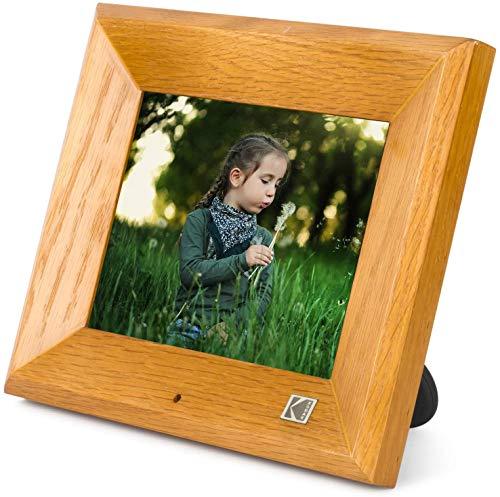 KODAK RDPF-802V Digitaler Fotorahmen 8 Zoll, Hölzern Elektronischer Bilderrahmen, 1280 x 800 IPS, Bild Musik Video Funktion mit Fernbedienung