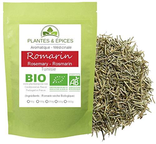 Plantes & Epices - Romarin BIO 100% naturel, pour Tisane, Infusion, Cuisine gastronomique - Sachet Fraîcheur Biodégradable Refermable (100G)