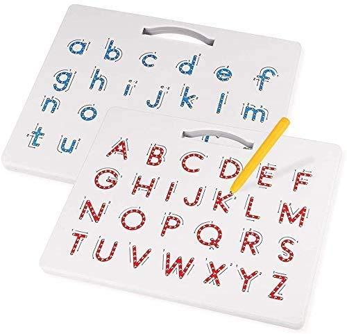 2-in-1 Magnetische Alphabet Letter Tracing Board - ABC Buchstaben Kinder Zeichenbrett mit Stylus Pens Jungen und Mädchen