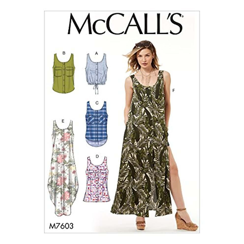 McCall Patterns M7603A50 Misses' Loose-Fitting Button-Front Optional Pockets Tops