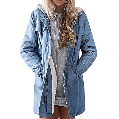 NANTE Top Loose Women's Coat Hooded Casual Denim Jacket Warm Coats Long Jean Outwear Ladies Outerwear Womens Overcoat Tops (Blue, M)