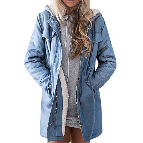 FRAUIT Damen Denim-Jacke Lange Jean Fleece Kurz Mantel Outwear Lange Trenchcoat Schlank Winterjacke Revers Steppmantel Slim Fit Mode Taschen Casual Langarm Fleecejacken Top Outwear Bluse