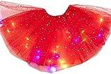Hvoz Lumière LED Jupes, Magique Clair Princesse LED Danse Jupe Lumineux Noël Fête Scène Tulle Ballet Enfants Fille - Rouge