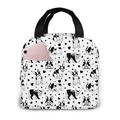 Dogs Pattern French Bulldog Lunch Bag for Women Men, Reusable Lunch Tote Lunch Box Organizer Cooler Bag with Front Pocket for Work Travel Picnic