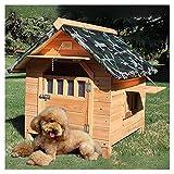 TYX Casetas Perros Exteriores Pequeñas Impermeables, Casetas Madera para Perros, para Mascotas Pequeñas Gatos Chihuahuas Perros Peluche Pomeranios,66×69×68cm