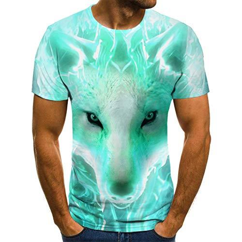 LKFTH Wolf 3D Print Animal Cool Funny T-Shirt Hombres de Manga Corta Summer Tops Tees Fashion T-Shirt Tamaño Personalidad Casual XXL As Show A