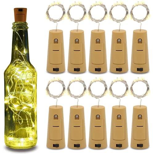 10 piezas de luz de botella, cadena de luz de corcho de 2 m y 20 LED de cristal de corcho con batería para botella para decoración exterior bodas(blanco cálido)