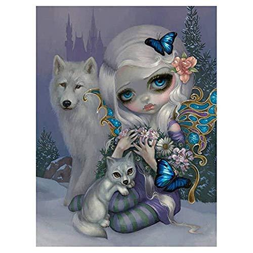 Injoyser - Kit de pintura de diamante 5D, pintura por número, pintura por números, cuadros de bordado, manualidades, lobo y chica de dibujos animados, 11,8 x 15,7 pulgadas, 1 paquete por INJOYS
